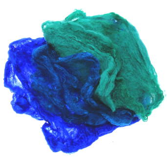 Hand dyed silk hankies blue-green